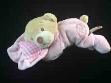 Keel Toys Pink Baby's 1st Bear Plush Soft Toy Teddy Laying Down