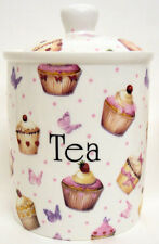 Cupcakes & Butterflies Tea Canister Bone China Storage Jar Hand Decorated UK