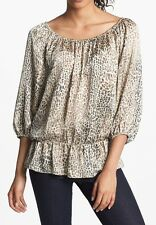 Nwt $79 VINCE CAMUTO Peplum Peasant Blouse Tunic Dress Top ~Cheetah Beige *PXS