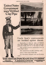 1917 A  AD  SEWER PIPE MFG ASSOC RICE UNCLE SAM ARMY BARRACKS CANTONMENTS