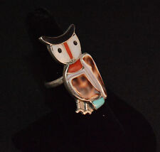 Vintage Ring Owl Native American Turquoise Coral & Shell By Navajo Artist Sz 8