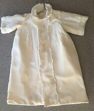 Vintage Silk Christening Gown Coat With Bib & Hat Flannel lined 1955 Ivory