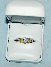 "2 TONE MARQUIS DIAMOND BRIDAL SET 1.1 CARAT "" 14KT GOLD SETTING"