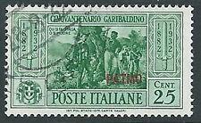 1932 EGEO PATMO USATO GARIBALDI 25 CENT - U27-4