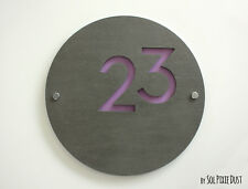 Modern House Numbers ,Round Concrete & Purple Acrylic- Sign Plaque - Door Number
