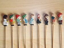 Anri Hand Carved & Painted Wooden Cocktail Picks x 9