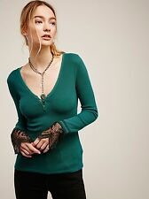 Free People Last Dance Lace Embroidered Cuff Thermal NWT XS