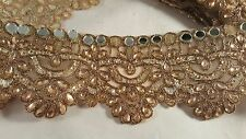 8cm- 1 meter Stunning antique gold mirrored diamante trim lace for crafting