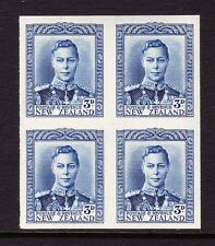 NEW ZEALAND 1938-44 3d BLUE IMPERF PLATE PROOF BLOCK SG 609 MNH.