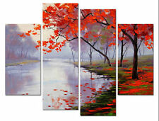 4pc Hand-painted Modern Wall Decor Art Oil Painting on Canvas,Red Tree(No Frame)