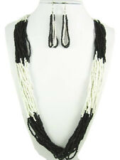 LAYERED LONG BLACK PEARL WHITE COLOR BLOCK SEED BEAD NECKLACE SET SWEATER