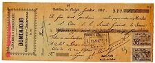 FRANCE BILLET à ORDRE MANDAT CHATILLON 1899 LYON avec 2 TIMBRES DOMENJOUD