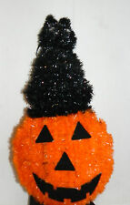 "NWT Halloween Pumpkin Decor with Black Cat on top of his Head, 15"" tall LOOK"