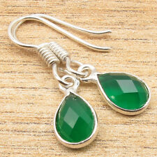 925 Sterling Silver Overlay Checker Faceted Drop GREEN ONYX Earrings Just $0.99