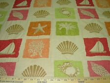 ~4 6/8 YDS~SEASHELLS SEALIFE BOATS~PART CHENILLE UPHOLSTERY FABRIC FOR LESS~