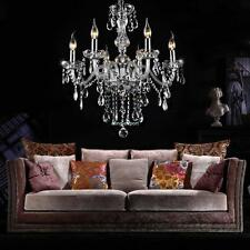 CHROME 6 LIGHTS DROPS FLUSH FITTING CHANDELIER CEILING LIGHTS CRYSTAL DROPLETS
