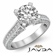 2ct Natural Round Cut Pave Set Diamond Engagement Ring GIA F SI1 14k White Gold