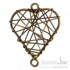 Antique Brass Wire Heart Metal Charm Pendants 38mm Pack of One (E73/11)