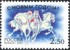 Russia 2001 New Year/Father Christmas/Troika/Horses/Greetings 1v (n24142)