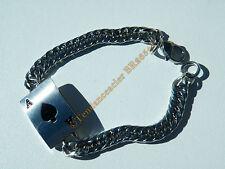 Bracelet Poker Argenté Plaque As de Pique Maillon Gourmette 7mm Acier Inoxydable