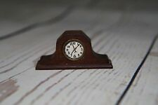 Vintage Antique DollHouse Miniature Wooden Mantle Clock Furniture Accessory