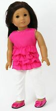 "Pink Ruffled Sleeveless Top & White Pants fits 18"" American Girl Doll Clothes"