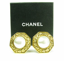 Authentic CHANEL Gold Tone Faux Pearl Clip On Earrings
