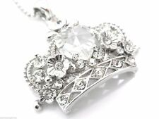 Crown Pendant Women's Center Heart Crystal Necklace New