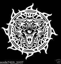Celtic Wolf White Vinyl Window Sticker Decal Car Wall Irish