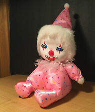 VTG Musical Head Movement wind up Clown Doll Pink W/ Stars Its a Small World