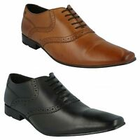 HARRY MTO MENS BASE LONDON WAXY TAN BLACK LEATHER LACE UP BROGUE FORMAL SHOES