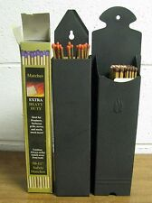Two (2) Vintage Black Fireplace Match Holders w/ Matches