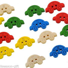 200 Mixed Car Shape 2 Holes Wood Sewing Buttons 19x11mm