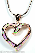 Rose Gold Plated 925 Sterling Silver Heart Pink Fire Opal Pendant Necklace 18 ''