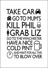 Shaun of the Dead Quote white poster print A2