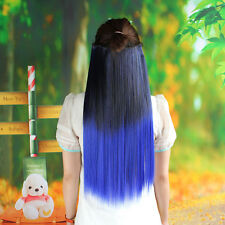 Straight Hair Piece Ombre Dip Dye Party Salon Clip In Extensions Black + Blue