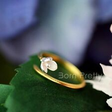 Simple Style Magnolia Flower Open Adjustable Silver Ring Double-color Jewelry