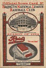 1924 Brooklyn Robins/Dodgers-Giants Program Dazzy Dazzles Giants RARE!!