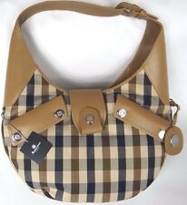 AQUASCUTUM Hunter Hobo Taupe Club Check Large HANDBAG BNWT