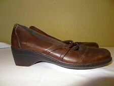 Clark Brown Leather  Wedge Women Shoes Size 11 M
