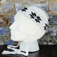 Barts Nordic Inka Tassle Warm Winter hat in white one size