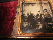 "1/6 Tintype 4 Men by Tree ""Horses and Carriages"" Rent Sign Flags in Full Case"