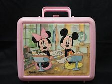Mickey & Minnie Passing Notes Pink Plastic Lunch Box E2