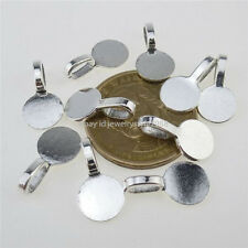 12604 50PCS Silver 10mm Round Glue on Bails Setting Bail FOR Necklace Pendant