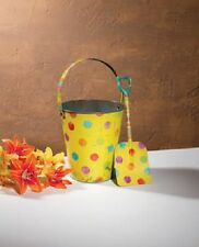 Vintage Look Tin Food Safe Beach Sand Pail Bucket w Shovel POLKA DOT