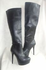 STEVE MADDEN ANIMALL BLACK STRETCH BACK PLATFORM BOOTS SZ 8.5 NEW