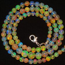 """Natural Ethiopian Opal Super Electric Fire Play 4 to 7MM Round Bead Necklace 19"""""""