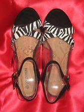 QUEENSPARK Sizzle Women's Sandals Size10 blackzebra  platform slingback new box