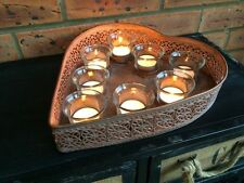 Copper Heart Shaped Tray & 8 Glass Tea Light Holders Moroccan Style Centerpiece