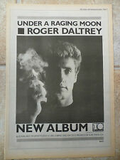 "ROGER DALTRY, UNDER A RAGING MOON, B & W, N.M.E ADVERT POSTER 11.75""X 16.75"""